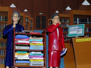 Library action figure with real shushing motion. Modeled on a respected librarian with a good sense of humor!