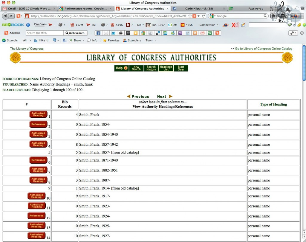Library of Congress Name Authority File