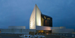 JFK_library at dusk