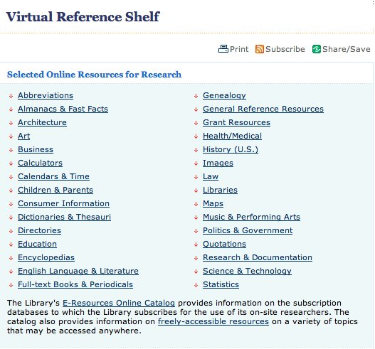 LOC virtual reference shelf