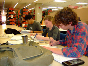 academic library students studying