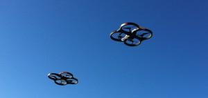 Drones in flight