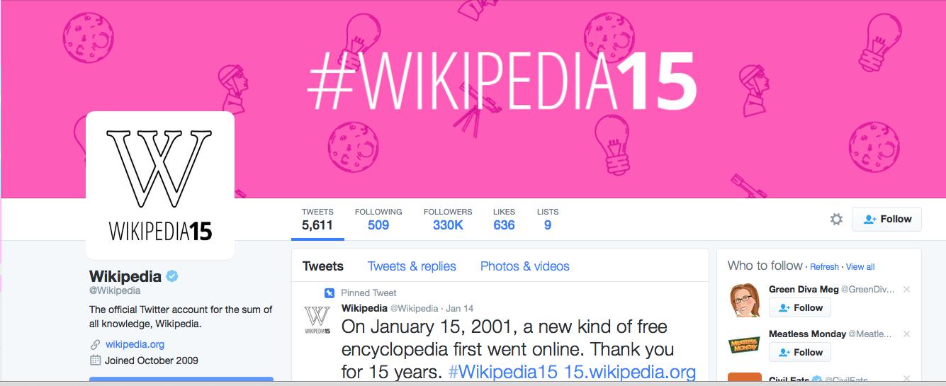Wikipedia's Twitter page