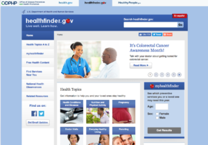 healthfinder.gov screen shot