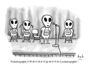 Aliens' spelling bee. Odd english spelling
