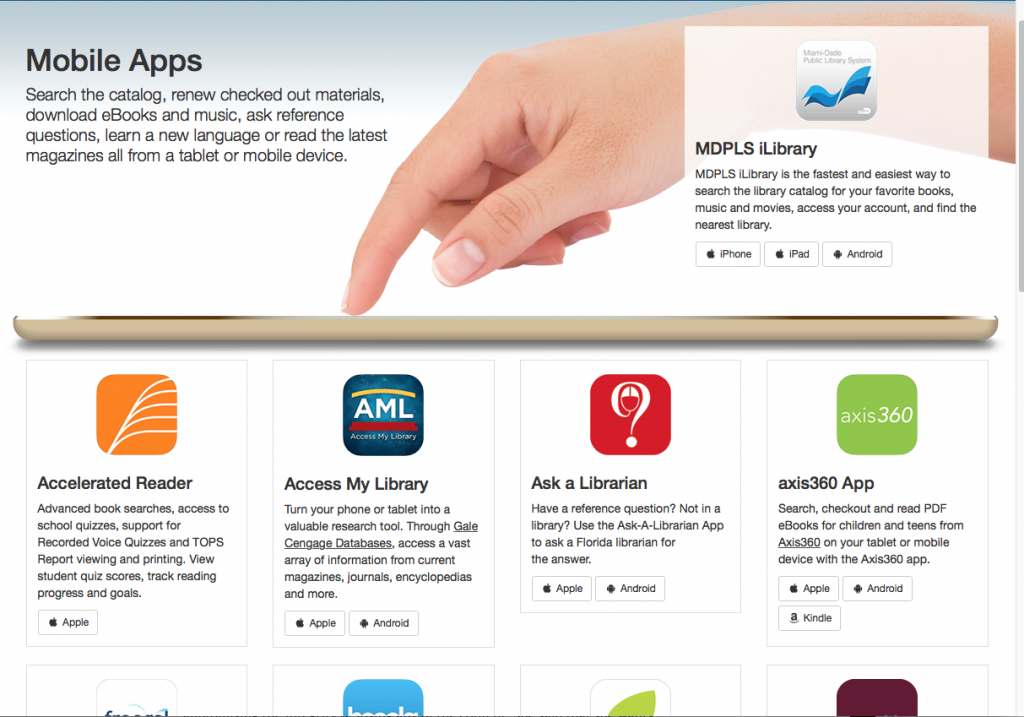 Mobile app page screenshot. innovative library services